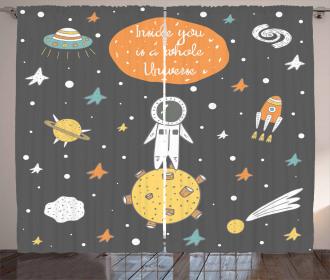 Doodle Astronaut Curtain