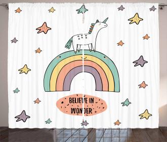 Rainbow Colorful Stars Curtain