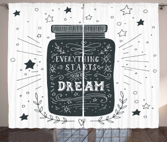 Saying on Jar with Stars Curtain