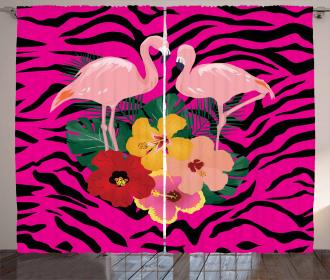 Exotic Flamingo Boho Curtain