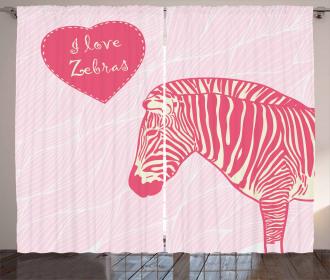 I Love Zebras Quote Curtain