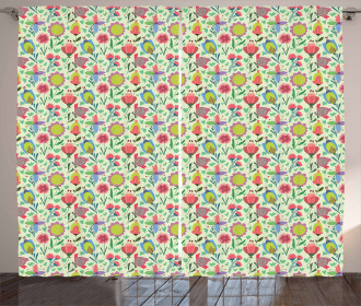 Doodle Blooming Tulips Curtain
