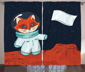 Fox Cosmonaut Space Curtain