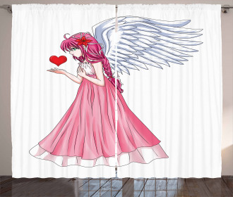 Angel Holding a Red Heart Curtain