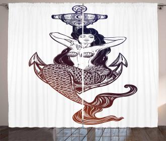 Monochrome Mermaid Motif Curtain