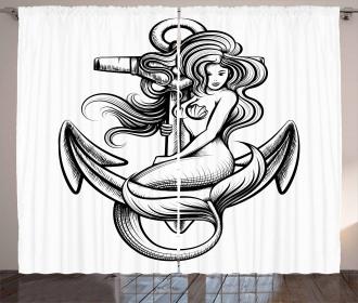 Long Haired Siren Design Curtain