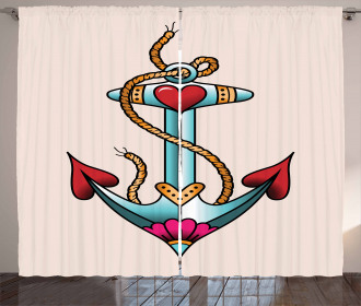 Nautical Rope and Hearts Curtain