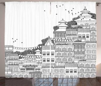 Doodle Style Kathmandu Curtain