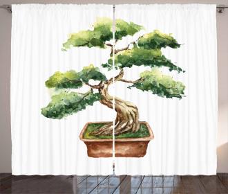 Watercolor Bonsai Curtain