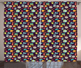 Galaxy Party Pattern Curtain