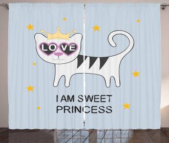Cat Hearts Love Curtain