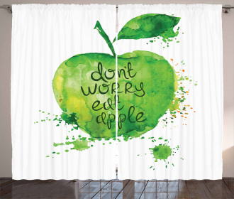 Don't Worry Eat Apple Curtain