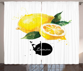 Sour Citrus Lemon Design Curtain