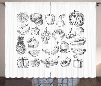 Hand Drawn Berries Food Curtain