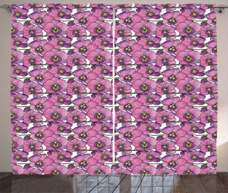 Exotic Orchid Blossoms Curtain