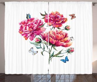 Carnation Bouquet Nature Curtain