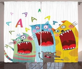 Cartoon Cats and Rat Curtain