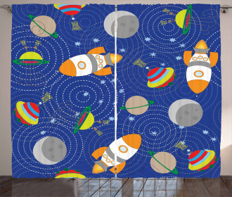 Outer Space Moon UFO Curtain