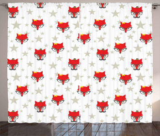 Hipster Foxes Hats Curtain