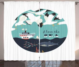 I Love the Sea Quote Curtain
