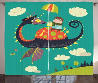 Fantasy Dragon Rider Curtain