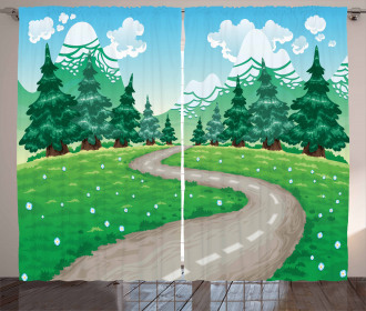 Pathway among Pine Trees Curtain