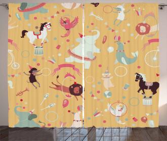 Retro Cartoon Circus Curtain