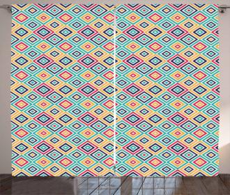 Diagonal Squares Retro Curtain