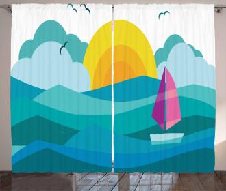 Sunny Sea Sail Ship Curtain