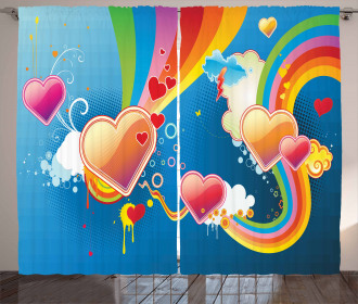 Funky Hearts Curtain