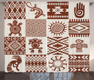 Grunge Native Tile Curtain
