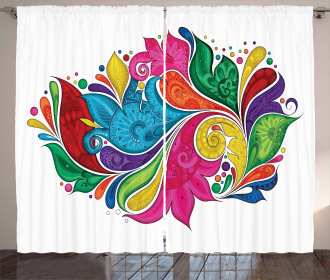 Vibrant Colorful Leaves Curtain