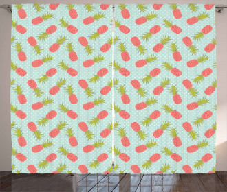 Doodle Style Pineapple Curtain