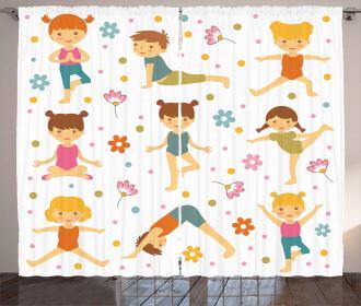 Cartoon Exercising Kids Curtain