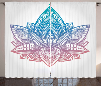 Tribal Boho Lotus Flower Curtain
