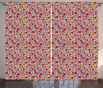Blooming Botany Flowers Curtain