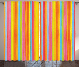 Vertical Colorful Lines Curtain