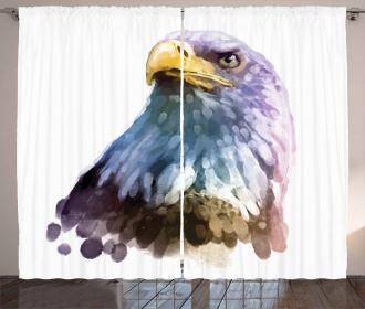 Watercolor Bald Eagle Curtain