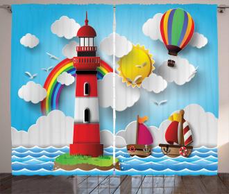 Kids Coast Cartoon Curtain