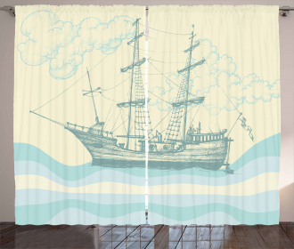 Ship Waves Clouds Curtain