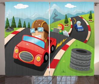 Auto Racing Boys Curtain