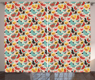 Whimsical Colorful Birds Curtain