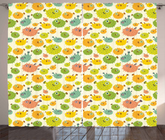 Funny Pufferfish Colorful Curtain