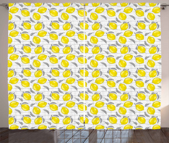 Sketched Lemon Pattern Curtain