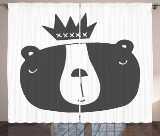 Humorous Bear in Crown Curtain