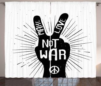 Sixties Pacifist Slogan Curtain