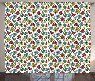 Stylized Autumn Petals Curtain