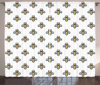Graphic Bees Dots Pattern Curtain