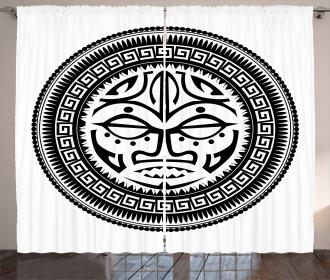 Maori Face Mask Curtain