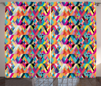 Diagonal Colorful Tile Curtain